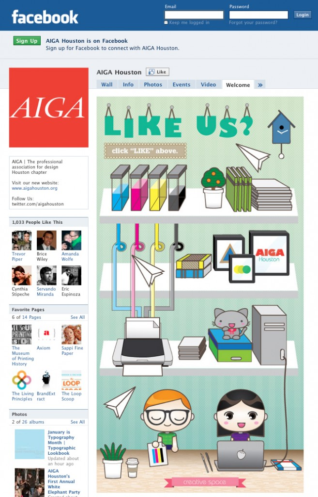 AIGA Houston's Welcome Tab on Facebook