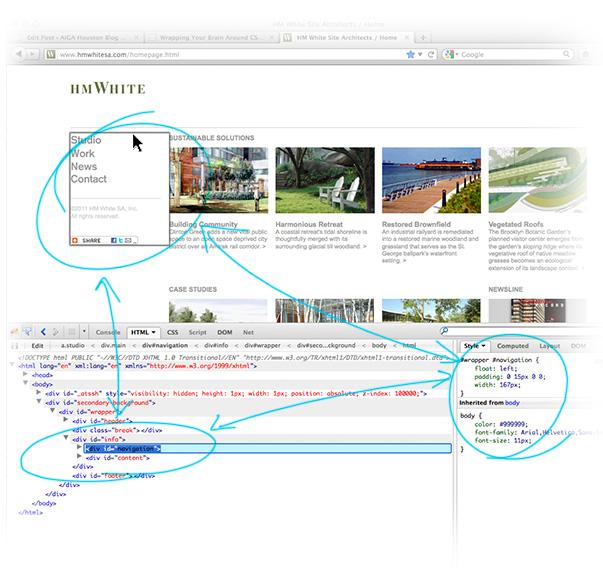 a website at work using firebug