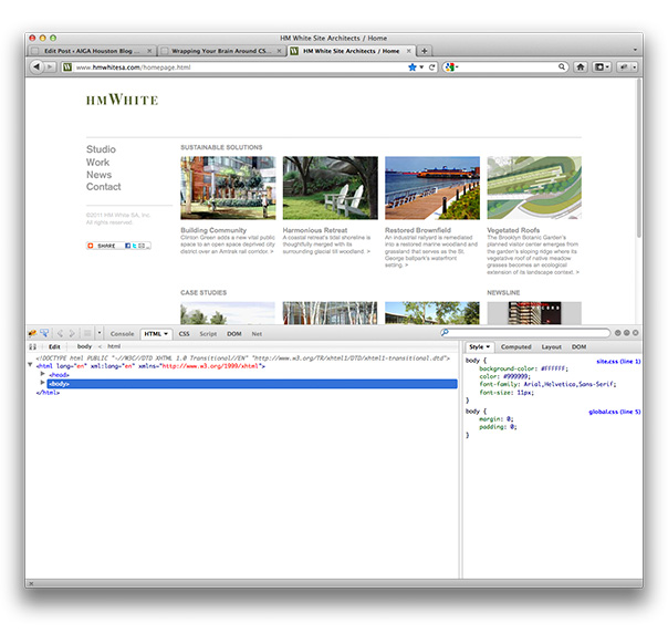 HM White website screenshot with Firebug turned on