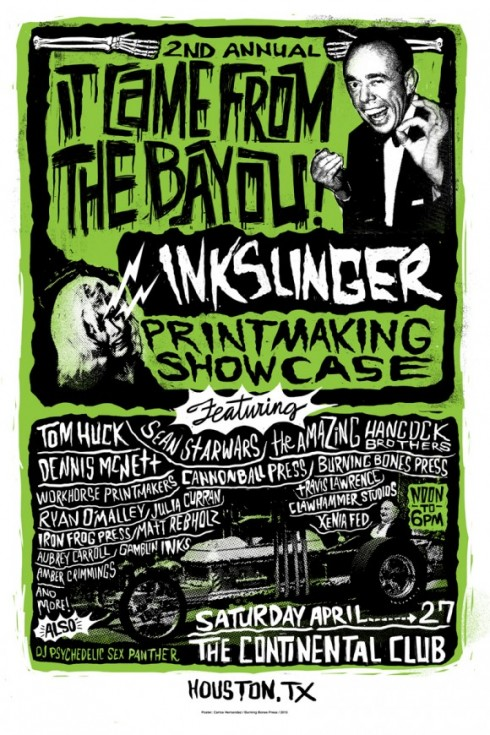 It Came From the Bayou Inkslinger Printmaking Showcase commemorative event poster, image courtesy of Burning Bones Press