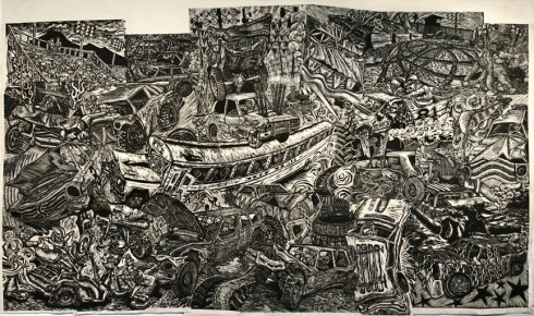 """DEMOLITION"" woodcut on paper by Houston, Mazorra, and McNett of Cannonball Press, image courtesy of cannonballpress.com"