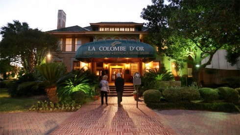 La Colombe D'Or main entrance, image courtesy of La Colombe D'Or's website