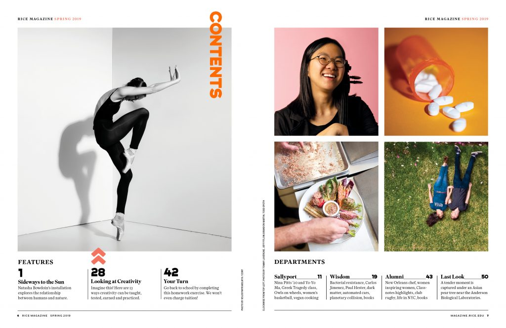 Rice Magazine Table of Contents redesign